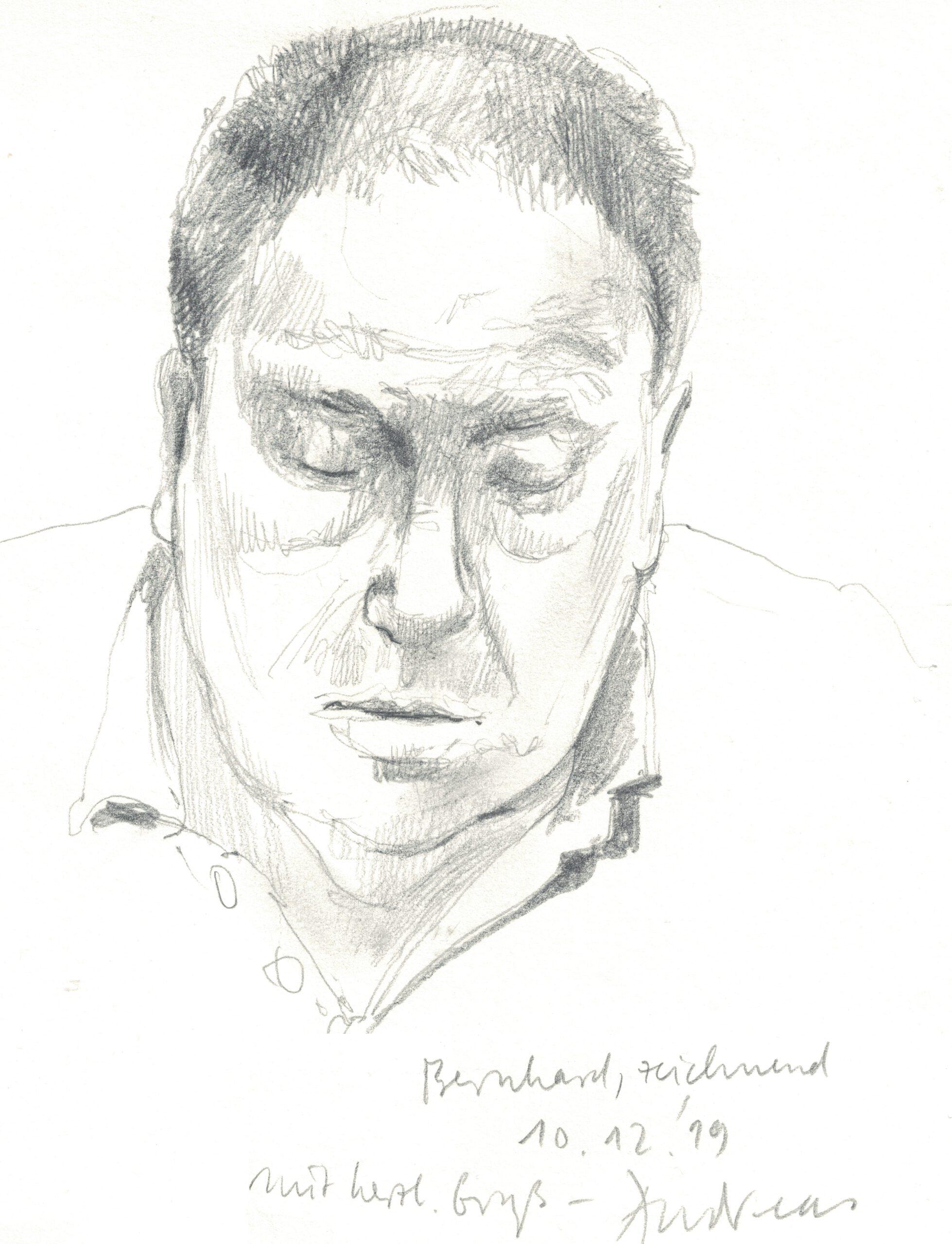 Der Vortragende Dr. Bernhard Röhrich gezeichnet von Andreas Amrhein