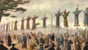 """Kreuzigung der """"26 Märtyrer von Nagasaki"""", 5. Februar 1597"""